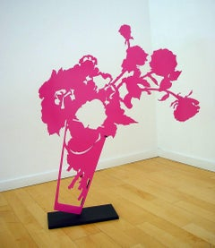Tipping Pink Roses / steel sculpture