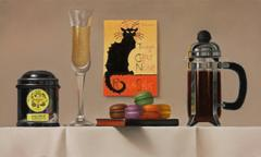 Paris / oil on linen with coffee and black cat
