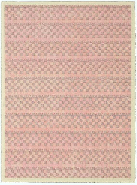 Gloria Matuszewski Abstract Drawing - Blush, Rose and Pink / framed drawing calm and serene