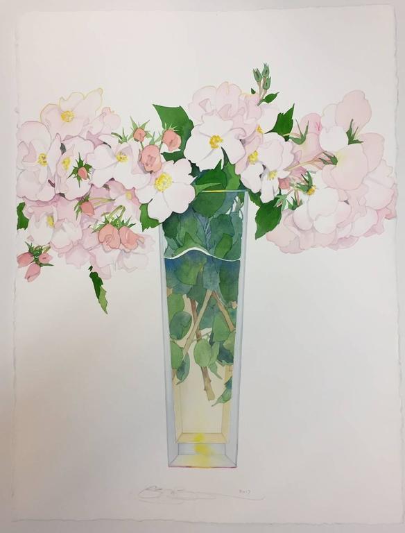 Gary Bukovnik Wild Roses In A Tall Vase For Sale At 1stdibs