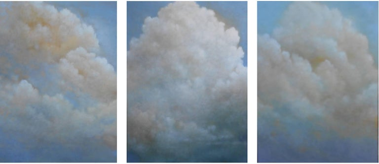Donna McGinnis Landscape Painting - Out of the Blue (triptych) cloud study