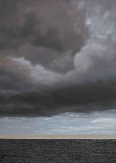 ELPIS / Hope - oil on linen, 84 x 60 inches - clouds, sea, water, grey, indigo
