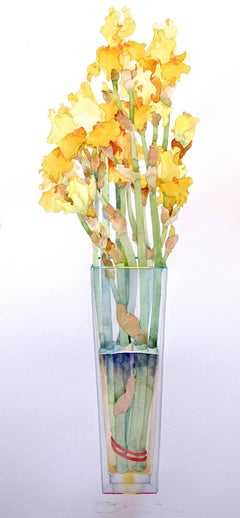 Yellow Iris in Tall Vase
