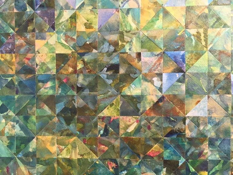 Enigma in Green - Abstract Geometric Art by Irene Zweig
