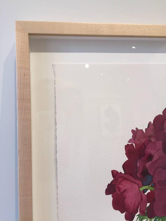 Dark Anemones in burgundy wine colors from Gary Bukovnik, whose dazzling watercolor's delight the senses.   Cleveland-born and educated Gary Bukovnik has lived in San Francisco for over 40 years. Bukovnik's art conveys a monumental quality.