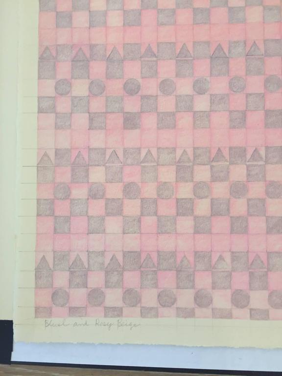 Blush, Rose and Pink / framed drawing calm and serene - Abstract Geometric Art by Gloria Matuszewski