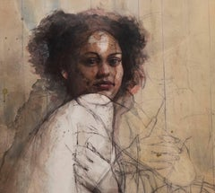No Title / figurative mixed media drawing, watercolor