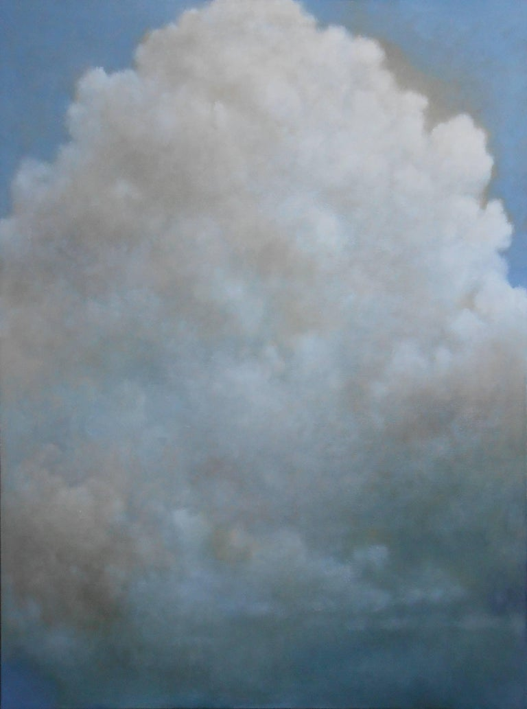 Out of the Blue (triptych) cloud study - Contemporary Painting by Donna McGinnis