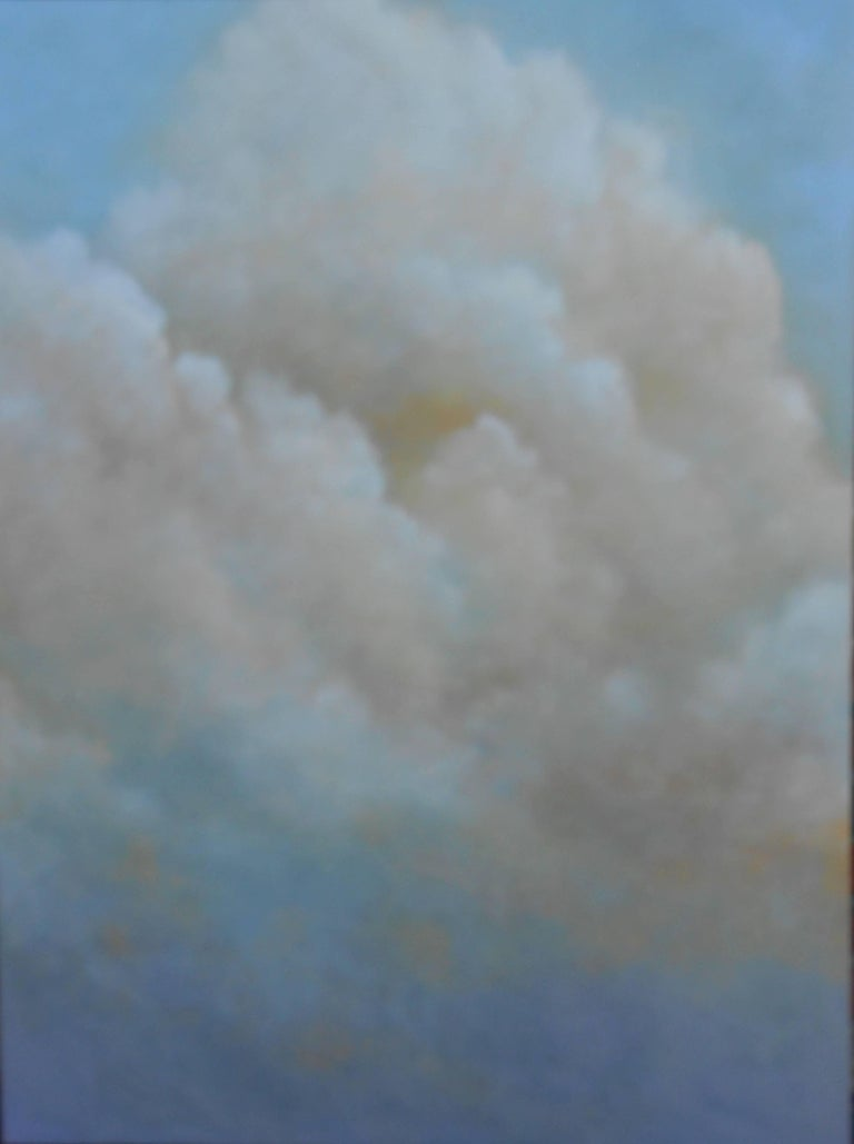 Out of the Blue (triptych) cloud study - Gray Landscape Painting by Donna McGinnis
