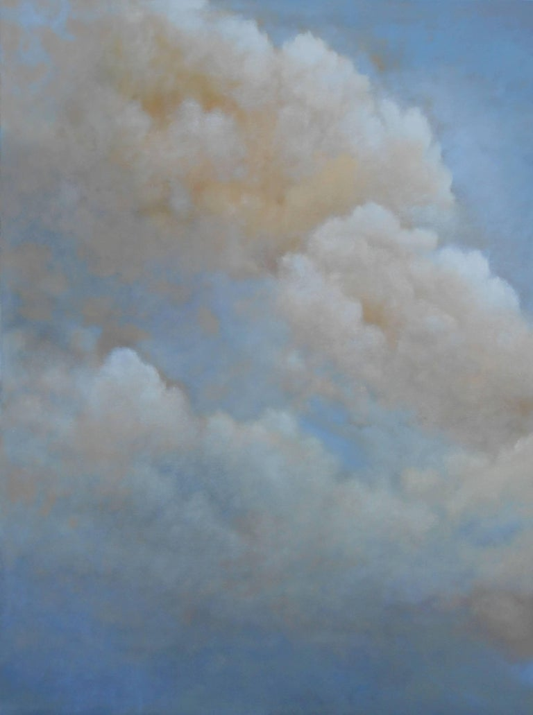 Out of the Blue (triptych) cloud study - Painting by Donna McGinnis