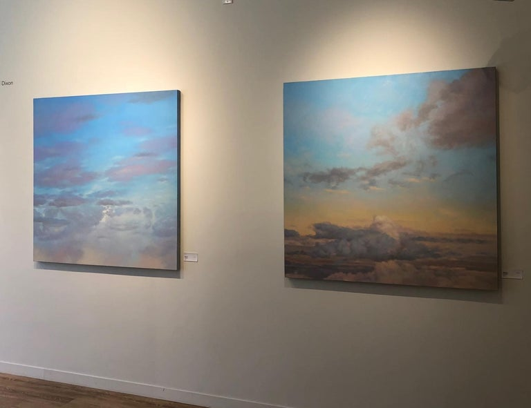 Stunning pair of open sky paintings — one in yellow, and the other in blue. Like windows to a wide open brilliant sky. The paintings compliment one another and can be hung side by side or separately.  They can also be purchased individually.   One