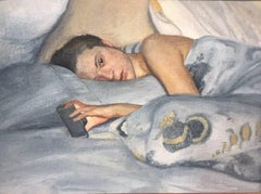 Facetime - reclining figure with cel phone / iPhone - blue