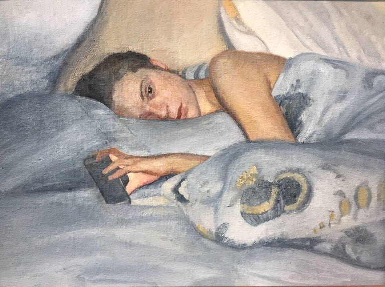 David Molesky Figurative Painting - Facetime - reclining figure with cel phone / iPhone - blue