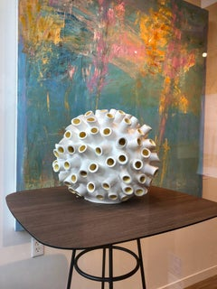 Razz-Ma-Tazz No. II / ceramic sculpture in white and yellow