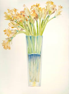 Gold Lilies in a tall vase / watercolor