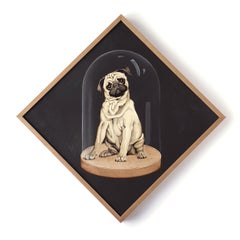 Wolf Interrupted / Pug dog - acrylic on panel