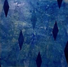 Closer II / oil and resin on canvas - cobalt ultramarine blue diamonds