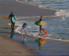 Reflections / surfers and children in oll on canvas