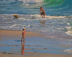 Beach Play / Ocean scene with children and dog