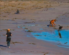 Dog Joy /  beach scene with girl and dogs
