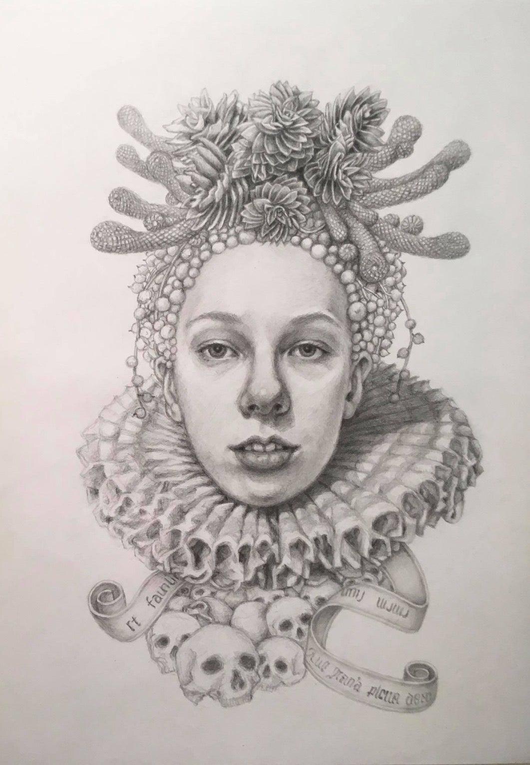 Infanta Soledad- graphite pencil drawing - woman with skulls & succulents