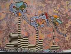 """""""Three Monkeys"""" - Abstract Acrylic Painting"""