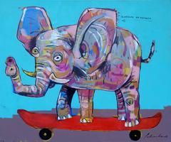 Elefante en Patineta