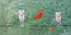 Two Owls, Several Plants and an Ibis