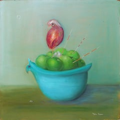 Apple Nest in a Turquoise Bowl