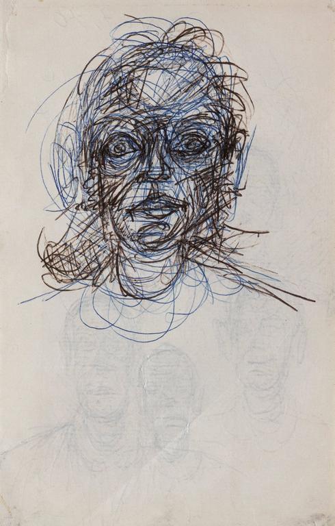 Alberto Giacometti - Tete de femme (recto) / 4 visages ... Graffiti Drawings In Pencil