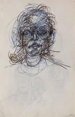 Tete de femme (recto) / 4 visages (verso)