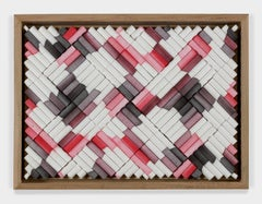 Untitled (rolled filter paper, red and black ink)