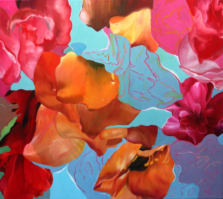 Time and Nature Djawid Borower Very Large Abstract Floral Blues Pinks - Painting by Djawid Borower