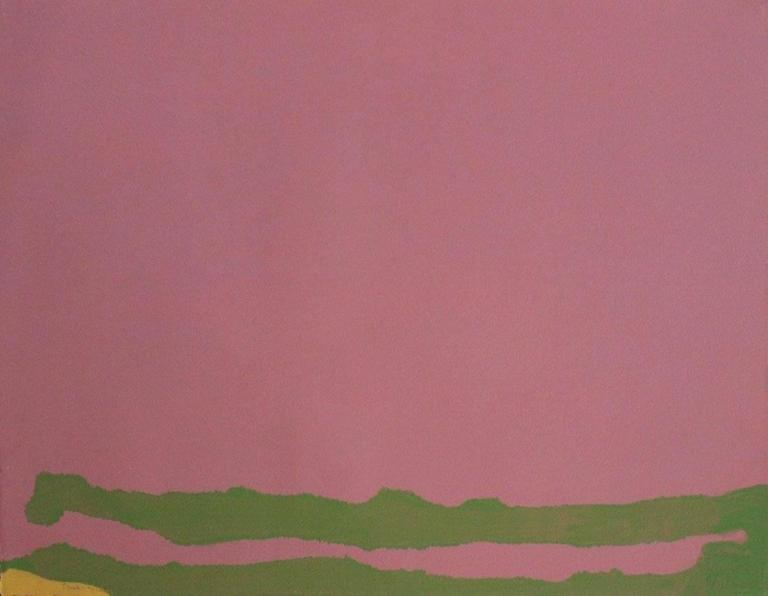 Helen Frankenthaler Abstract Print - Green Likes Mauve