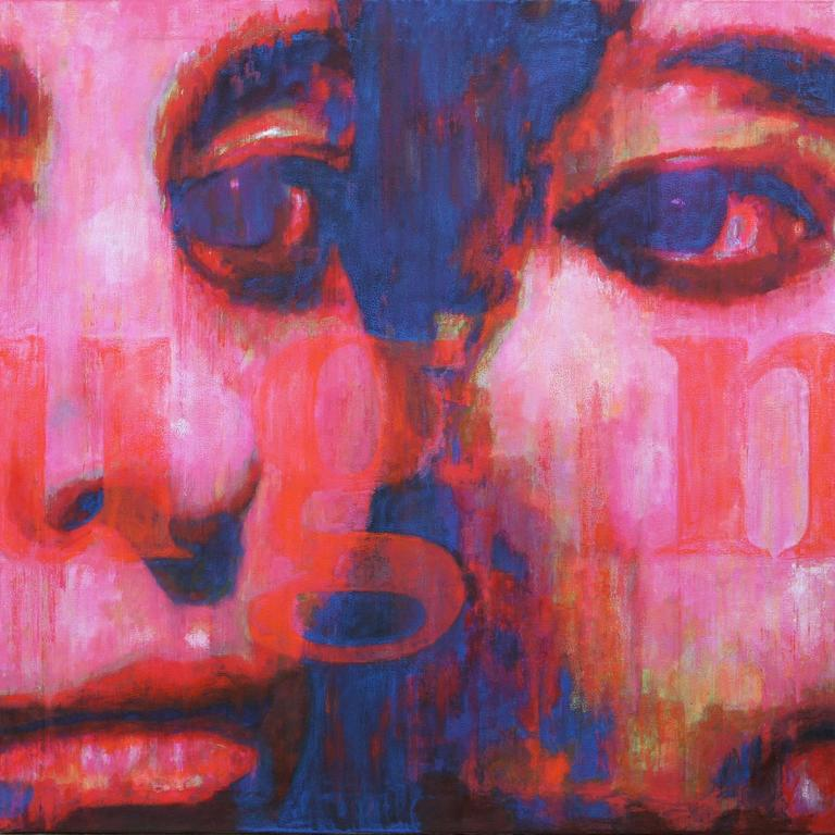 Picture of a Poem, Large Original Canvas Pink, Blue, Contemporary Portrait - Painting by Djawid Borower