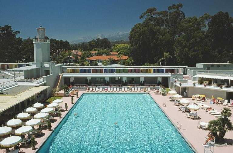 'Monte Carlo Pool' 1975 (Perspex face mounted Aluminium Dibond) - Photograph by Slim Aarons