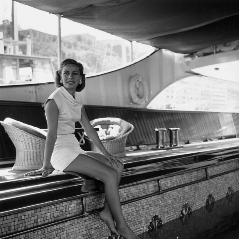 Slim Aarons Black and White Photograph - 'Tina Onassis' Monte Carlo (Estate Stamped Edition)