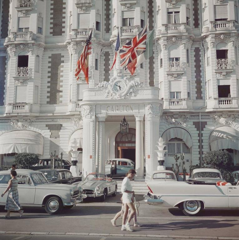 Slim Aarons Color Photograph - 'Carlton Hotel' Cannes (Estate Stamped Edition)
