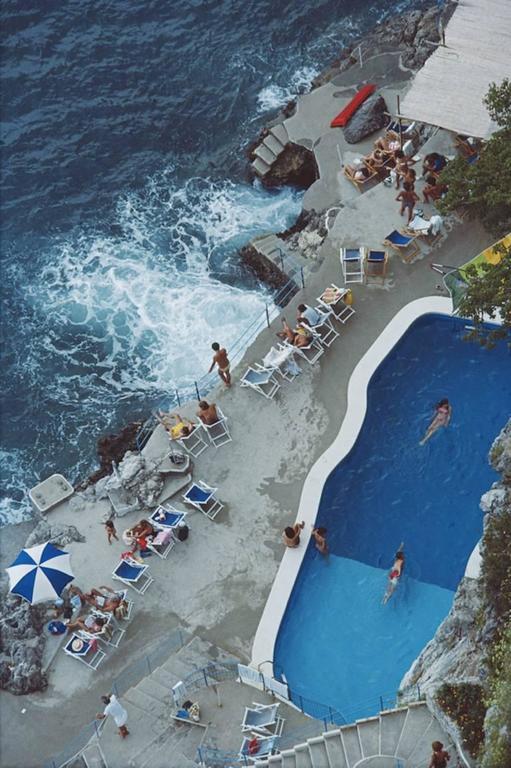 Slim Aarons Color Photograph - 'Pool On Amalfi Coast' Italy  (Archival Pigment Print)