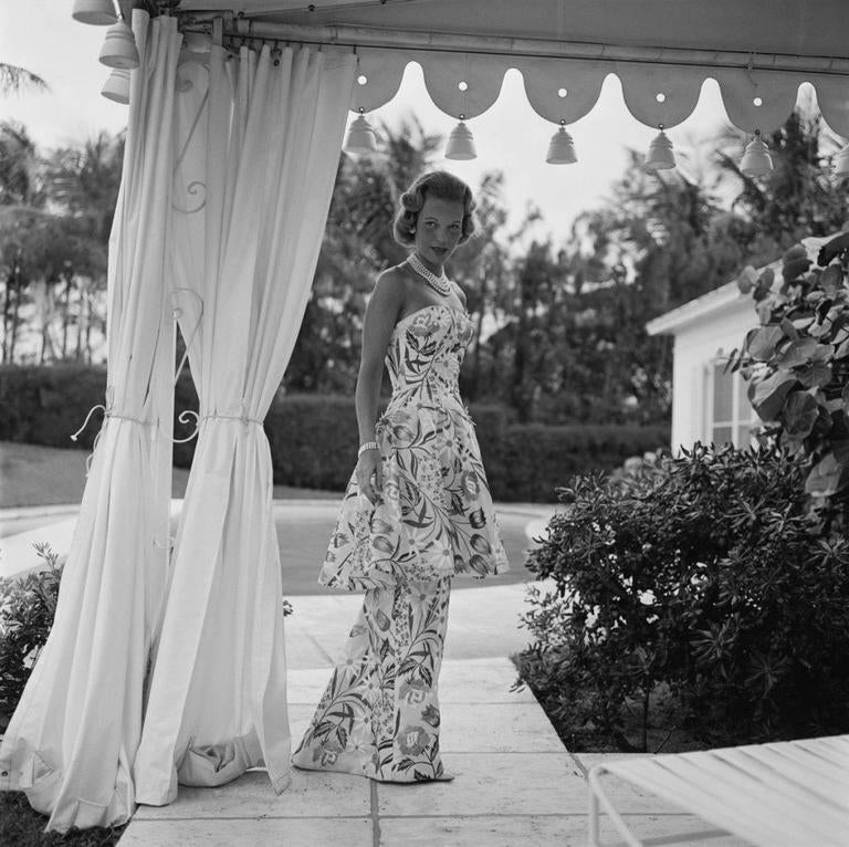 Slim Aarons Black and White Photograph - 'Evening Dress' U.S.A (Estate Stamped Edition)