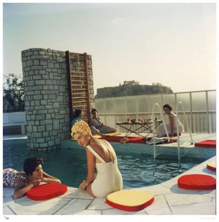 'Penthouse Pool' Athens (Slim Aarons Estate Edition) - Modern Photograph by Slim Aarons