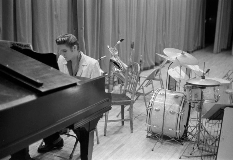 Phillip Harrington Black and White Photograph - 'Elvis At The Piano' 1956 Limited Edition silver gelatin print