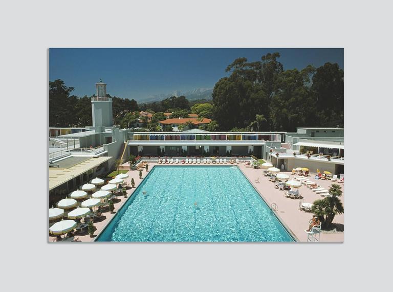 Slim Aarons Color Photograph - 'Monte Carlo Pool' 1975 (Perspex face mounted Aluminium Dibond)