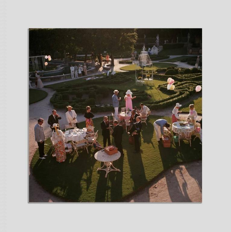 Slim Aarons Color Photograph - 'Garden Party' Miami 1970 (Perspex face mounted Aluminium Dibond)