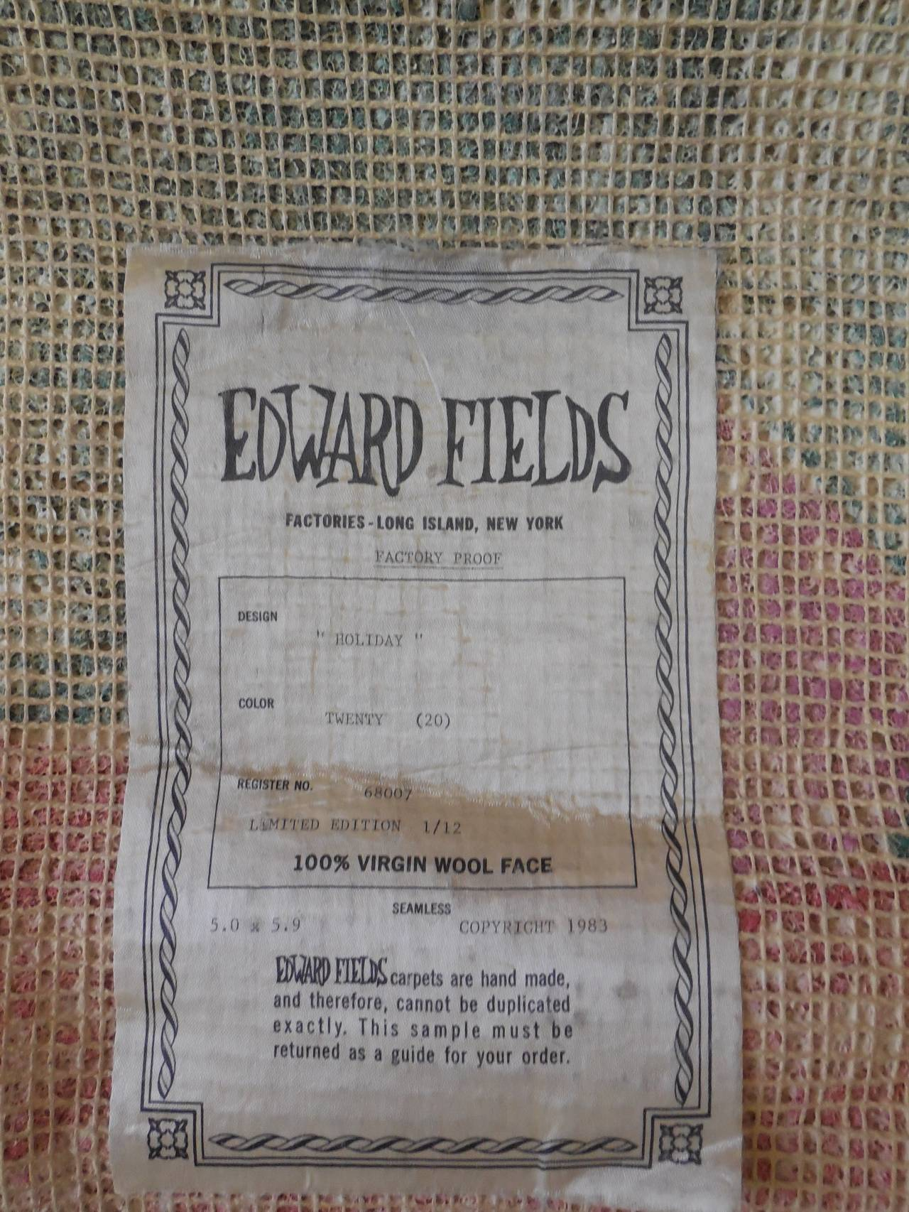 HOLIDAY Pile Tapestry Rug Esteben Vicente By Edward Fields For Sale 1