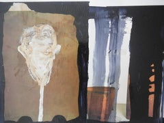 Head on a Pole, Artforum Series #8 Mixed Media Collage