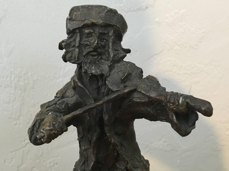 Prince Monyo Fiddler on the Roof Bronze Shtetl Sculpture Rare Judaica