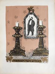 VIntage Russian Shtetl Shabbat Candlesticks, Judaica Lithograph