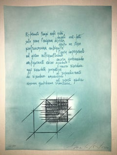 Abstract Etching with Italian Poem III
