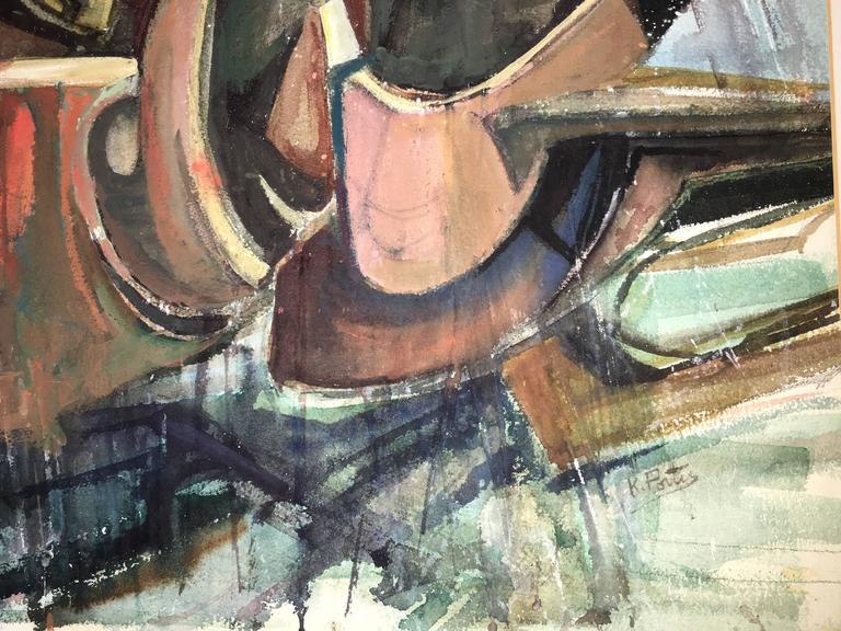 Modernist Fallen Warrior Abstract Expressionist Woman Artist Watercolor Painting For Sale 5